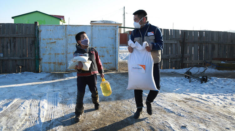 Basic food and hygiene supplies being provided for isolated families in Mongolia