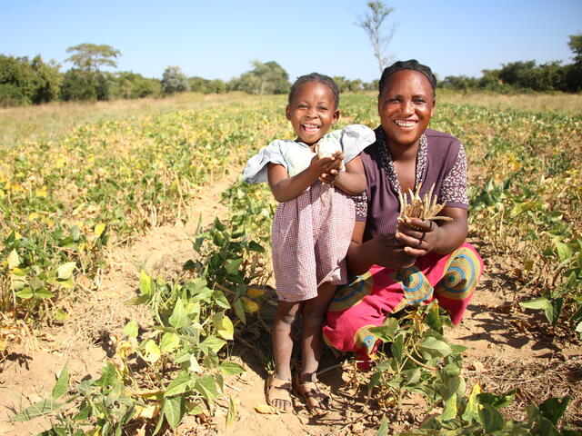 A mother experiencing food insecurity kneels among a drought-stricken field.