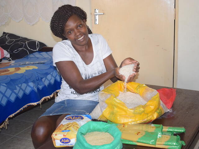 Gertrude received cash and voucher assistance to buy food