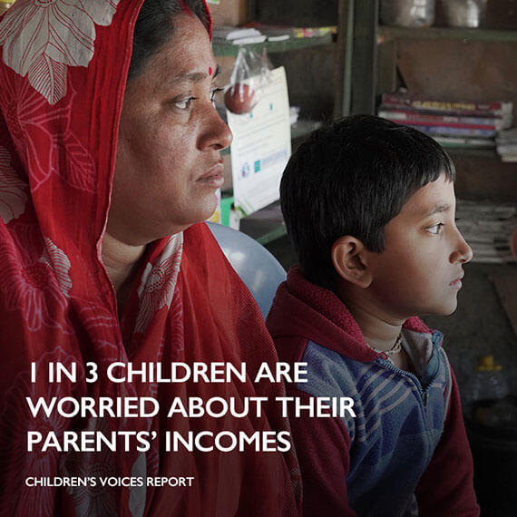 1 in 3 children are worried about their parents income