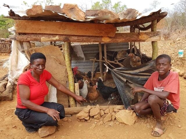 World Vision's livelihood activities have provided Helen with hens to help support her family
