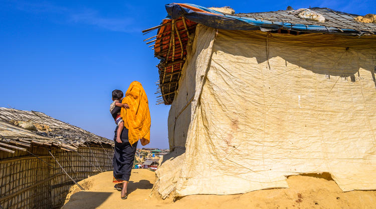 Jaheda and her daughter Minara live in a makeshift tent in Cox's Bazar.