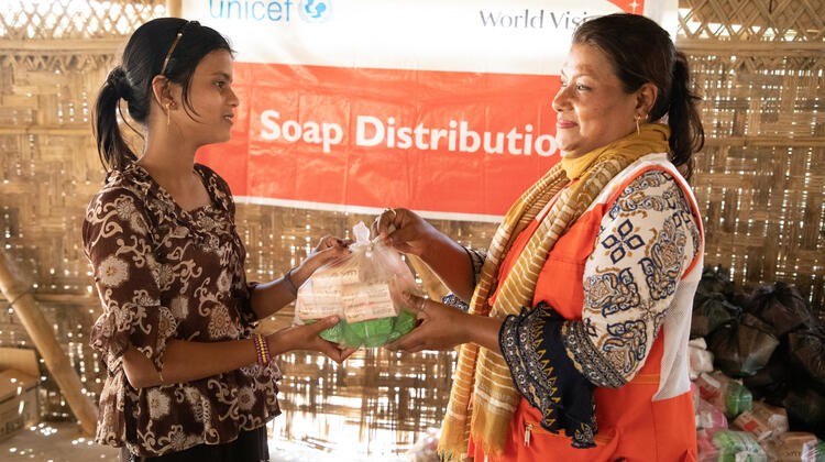 Soap for hand washing in Cox's Bazar Bangladesh