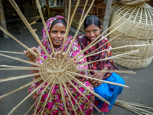 World Vision provided Shabitri training and startup money to establish a bamboo weaving business and a small grocery shop